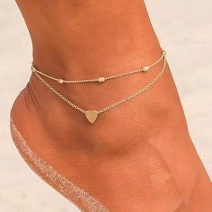 New Dainty Heart Layered Anklet